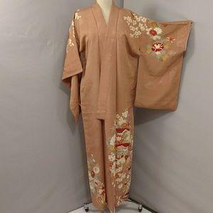 Vintage Silk Kimono Handpainted Floral Robe Coat